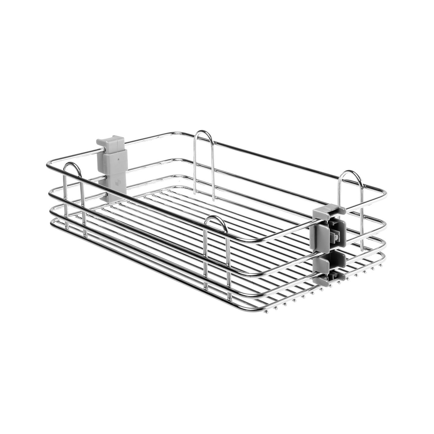 Pantry Pull Out with Wire Bottom Baskets, Light Grey